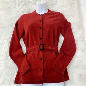 A. Gianetti Lg Belted Cashmere Cardigan Sweater